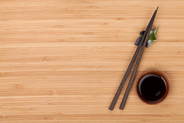 Sushi chopsticks and soy sauce bowl