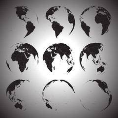 Set of black globe icons vector illustration