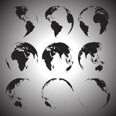 Set of black globe icons vector illustration