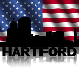 Hartford skyline reflected rippled American flag illustration
