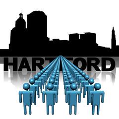 Lines of people with Hartford skyline illustration