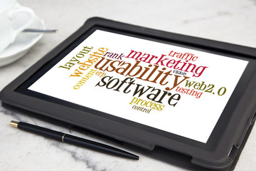 tablet with usability software word cloud
