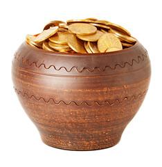 ceramic pot full of coins