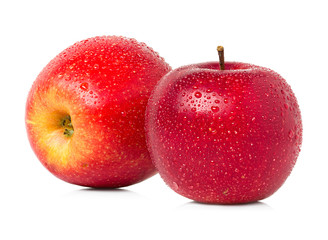 Red apples with water drops isolated
