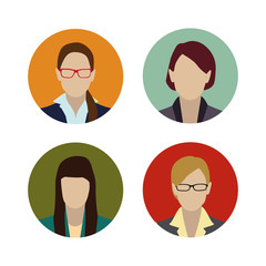 Set colorful female faces flat design