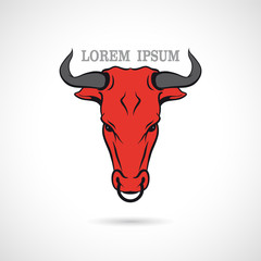 Label with a bull's head. Vector.