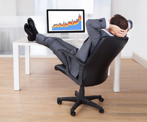Businessman With Feetup Relaxing At Computer Desk