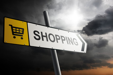 Shopping direction. Yellow traffic sign.