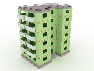 Green high-rise building without windows and doors  №2