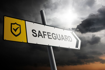 Safeguard direction. Yellow traffic sign.