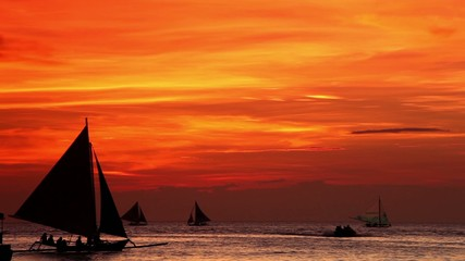 Orange sunset on Island Boracay, Philippines
