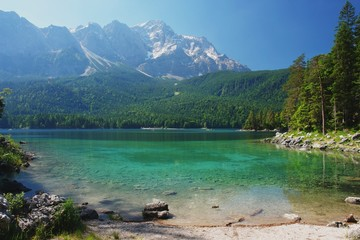 View of a mountain lake Eibsee and Zugspitze, Germany
