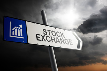 Stock Exchange direction. Blue traffic sign.