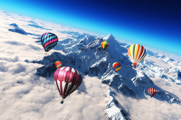Colorful hot air balloon's soaring above a majestic snow