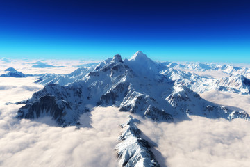 Majestic snow covered mountains background