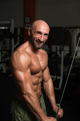 Mature Bodybuilder Working Out Triceps