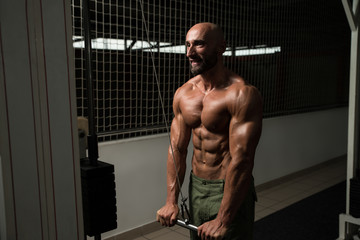 Mature Man Doing Exercise For Triceps