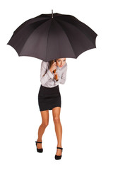 business woman holding an umbrella.