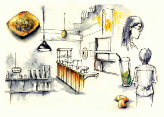 coffee shop, cafe elements illustration