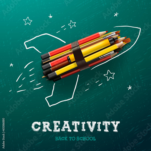 Creativity learning. Rocket ship launch with pencils - 65086880