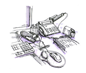 working table and stationaries illustration