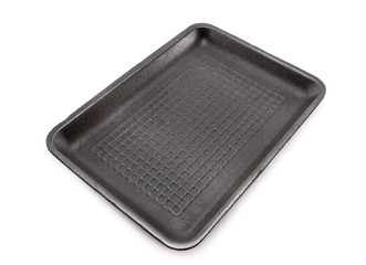 Black empty food tray  on white background