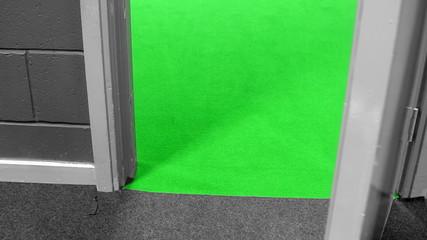 Grey gray door opens to green background
