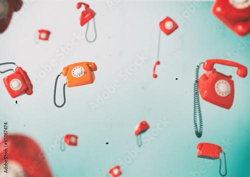 Leinwanddruck Bild Vintage telephones.