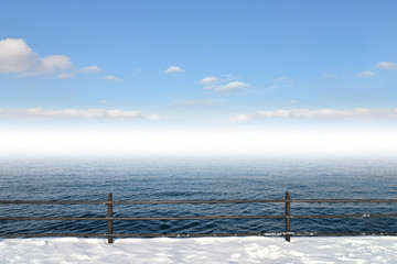 Winter landscape and sea background.