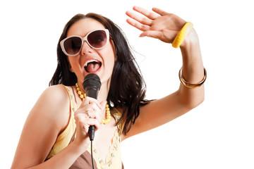 woman singing, isolated on white background