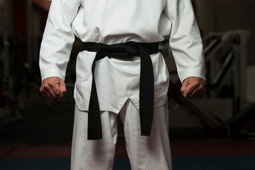 Man Wearing A Black Belt