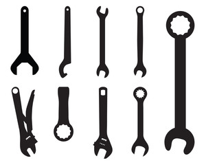 Black silhouettes of screw wrench, vector illustration