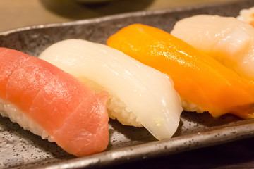 Squid and Several kinds of raw fish meat in Japanese rice