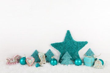 Holz Hintergrund weihnachtliche Dekoration in Türkis