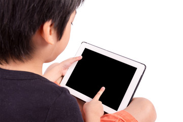 Hand of Asian boy playing Tablet isolated on white