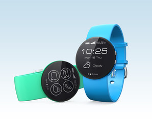 Stylish smart watches isolated on light blue background