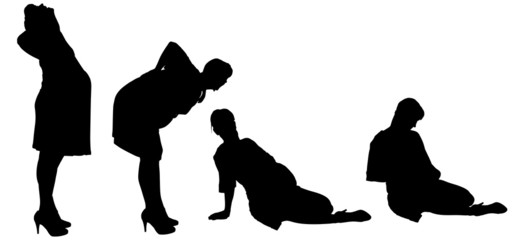 Vector silhouette of a woman who is pregnant.