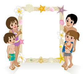 Swimwear Family pointing message board,Isolated