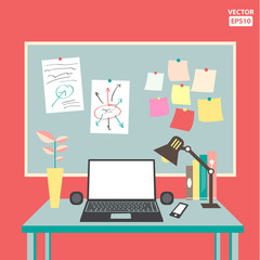 Flat vector of office set