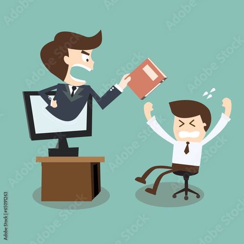 furious boss with folder in hand an employee