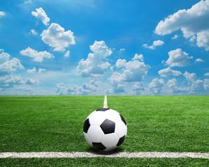 Football and soccer field grass stadium Blue sky background