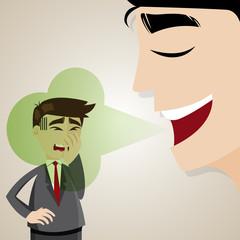 cartoon businessman with halitosis stinky