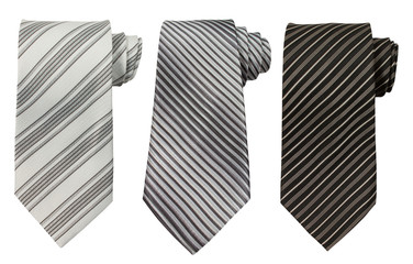 Set of three ties isolated on white
