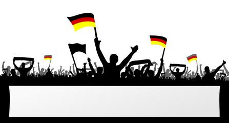 Deutsche Fans mit Schild