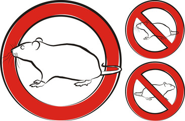 rat, rodent - warning sign