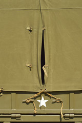 Cape in canvas top of vintage American military vehicle