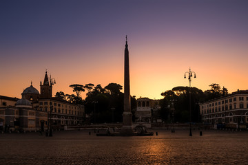 Sunrise at Piazza del Popolo, Rome