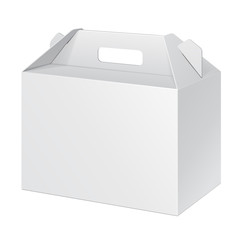 White Cardboard Carry Box Packaging For Food, Gift