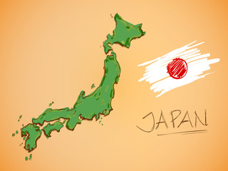 Japan Map and National Flag Vector