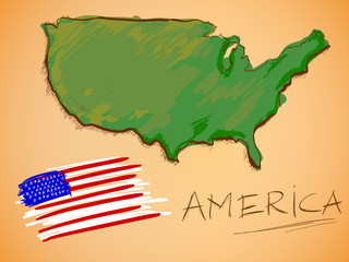 America Map and National Flag Vector